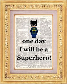 One Day I Will Be A Superhero vintage dictionary print book page art print beautifully UpCycled 8x10
