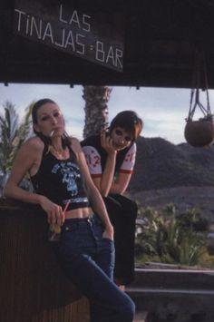 Anjelica Huston and Liza Minnelli, 1975.