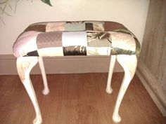 Reworked patchwork foot stool. You can find Tjs hearts and crafts on Facebook Recycled Furniture, Vanity Bench, Bespoke, Upcycle, Restoration, Stool, Recycling, Hearts, Crafty
