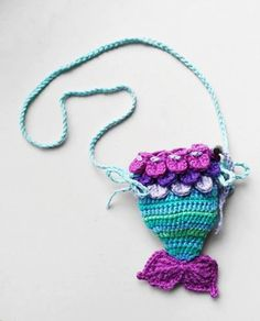 Toddler Size Mermaid tail shoulder bag crochet by SugarCarousel