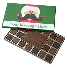 Personalized Santa Claus with Mustache 45 Piece Box Of Chocolates #candy #chocolate #christmas #gifts