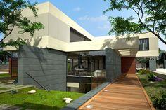 Ideas de #Sotano, Exterior, Galería, estilo #Moderno color  #Blanco,  #Gris,  #Bronce, diseñado por Goko  #CajonDeIdeas