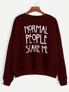 Burgundy Slogan Print Drop Shoulder Sweatshirt — 0.00 € ---------color: Burgundy size: L,M,S