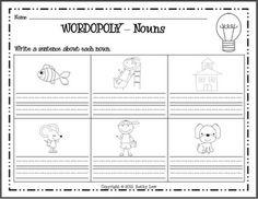 First Grade a la Carte_ wordopoly: nouns, verbs, etc. I School, School Stuff, School Ideas, Nouns First Grade, Writing Activities, Writing Ideas, Classroom Inspiration, Classroom Ideas, First Grade Classroom