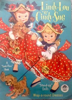 Lindy-Lou n Cindy-Sue Paper Dolls by E. A. Voss, 1955, Cut w/Covers, Merrill