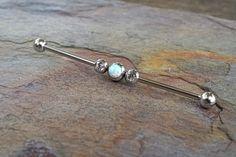 White Opal Industrial Barbell Piercing Upper Double Ear Piercing 14 Gauge