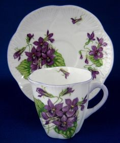 Tall Dainty Violets Shelley Coffee Cup And Saucer
