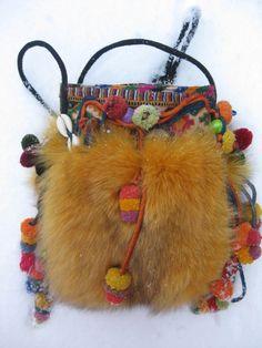 Tasker m. pels » Bag in coloured fox w.old embroidery.  Handmade by Jane Eberlein, Copenhagen, Denmark. www.samarkand.dk