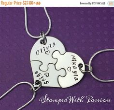 Mini heart puzzle piece necklaces set of three hand stamped best friend, sisters, bridesmaids stainless steel  These mini puzzle pieces are so cute ! The heart ( made from 22 guage stainless steel) as a whole measures 1 3/8in x 1 1/8in and they fit together perfectly.They come on a 16, 18 or 20 inch 925 sterling silver snake chain or 1 in keychains.  These would make great bridesmaid or best friend gifts. These are hand stamped with a Name and a small heart. We can also stamp Best Friends…