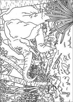 Print Kuifje achtervolgt door een olifant kleurplaat