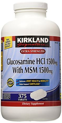 Kirkland Signature Extra Strength Glucosamine HCI 1500mg With MSM 1500 mg 375 Tablets (Pack of 2) >>> Click on the image for additional details.