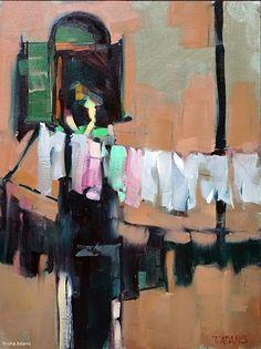 Venetian Laundry by Trisha Adams Oil ~ 16 x 12 Selling Paintings, Paintings I Love, Beautiful Paintings, Laundry Art, Anime Comics, Oeuvre D'art, Art Oil, Painting Inspiration, Landscape Paintings