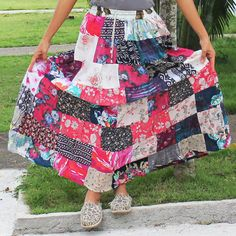 sale!!  Lovely mix color  long hippie  Patchwork Skirt by meatballtheory, $20.00