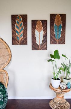 Dimensions: Each: Length: 24 inches Width: 12 inches Depth: inches Together: 36 inches x 12 inches Weight: 10 lbs each The last photo shows our 36 x 30 x and 24 x 12 feather size variations. Individually made to order. Each piece is crafted with love in Wood Wall Art Decor, Reclaimed Wood Wall Art, Reclaimed Wood Projects, Wooden Wall Art, Hanging Wall Art, Wall Art Sets, Wood Feather, Feather Wall Art, Pallet Art