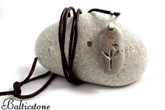 NEW!!! Talisman for protection. People of the North. Rune Algiz. Leather necklace with a beach stone.