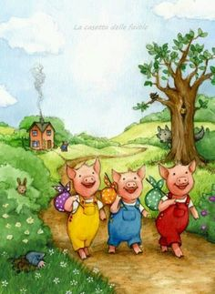 los tres cerditos Three Little Pigs, This Little Piggy, Pig Images, Peter Rabbit And Friends, Pig Art, Cute Pigs, Children's Book Illustration, Conte, Christmas Pictures