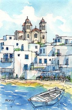 Paros Naoussa Boat Greece art print from an original watercolor painting - - Pen And Watercolor, Watercolor Landscape, Watercolor Paintings, Art Sketches, Art Drawings, Beach Sketches, Greece Art, Paros Greece, Watercolor Architecture