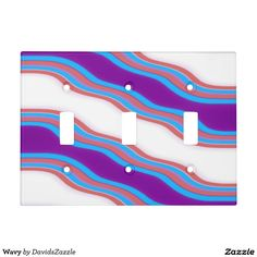 Wavy Pattern Light Switch Cover Available in different styles! Available on many more products! Check out the link and type in the name of this design in the search bar on my Zazzle Products page!  #wavy #wave #pattern #cool #hip #chic #contemporary #modern #style #life #lifestyle #red #blue #purple #stripes #line #ripple #nice #home #decor #apartment #dorm #student #college #den #living #bedroom #bathroom #buy #sale #zazzle #forsale #light #switch #cover #remodel #renovation #renovate