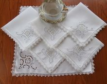 Cutwork Lace Linen Tea Napkins Set 6 Filet Needle Embroidery from Mercy, Maude! on Ruby Lane