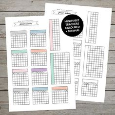 Printable Mini Habit Trackers are perfect for use in your bullet journal or planner. Print onto adhesive paper to make stickers! Easy to print and trim. Keep track of daily habits in your bujo.