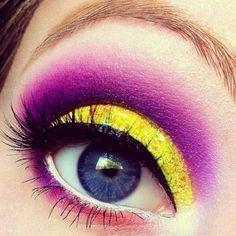 Yellow Purple Creative Colour Eye Makeup Looks