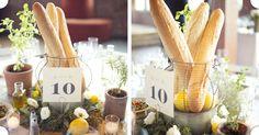 Bread, olive oil, lemon, wreath centerpieces with lisianthus    Rustic Italian - Tinsel & Twine