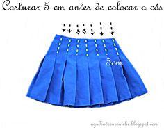 ✂ Como fazer uma saia de pregas passo a passo ✂ - Agulha de Ouro Ateliê Pleated Skirt Tutorial, Sewing Tutorials, Sewing Patterns, Baby Burberry, Cosplay Diy, Pattern Drafting, Diy Doll, Sewing Clothes, Cheer Skirts