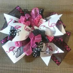 Pink flamingo hair bow Over the top/ boutique style hair bow/pageant bow/ big bow/baby hair bow/ baby headband/birthday bow/ smash cake . by SweetDesignsbyCindy on Etsy