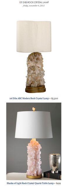 1ST DIBS ROCK CRYSTAL LAMP vs SHADES OF LIGHT ROCK CRYSTAL QUARTZ TABLE LAMP