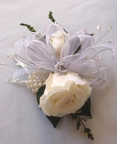 25TH SILVER Wedding Anniversary CORSAGE by LizAnnFlorals on Etsy, $35.00