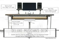 A recording desk built with the musician in mind, featuring a balcony shelf with pipes from dropping cords, sleek main desk, and pull-out keyboard drawer.