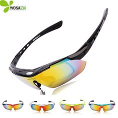 WOLFBIKE Cycling glasses Sports Goggle Shooting Bicycle glasses Motorcycle Sun Glasses with 5 Lenses cycling sunglasses men #Affiliate