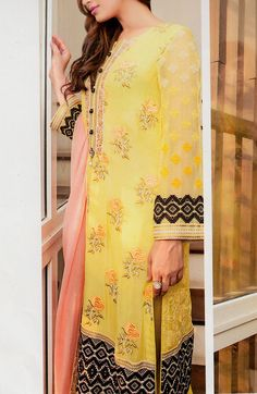 Buy Yellow Embroidered Chiffon Dress by Baroque 2015.