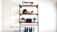 Industrial pipe wall mounted clothing rack shelf wall by Hisbrand Wall Shelving Units, Wall Shelves, Rack Shelf, Wall Racks, Wall Mounted Clothing Rack, Industrial Pipe, Pipe Furniture, Ladder Bookcase, Shoe Rack