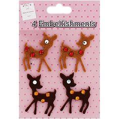 Felt Deer Embellishments - Pack Of 4