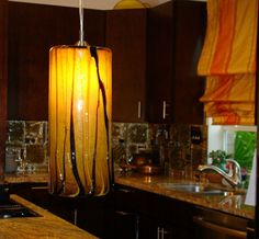 Large Pendents Collection  Handblown glass in Amber and Brown