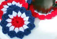fire works Crochet Coasters/Doilies for summer by ValkinThreads2, $8.00
