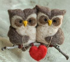 craft, hands, felt stuffi, owl ornament, ador, birds, needl felt, owls, felt owl
