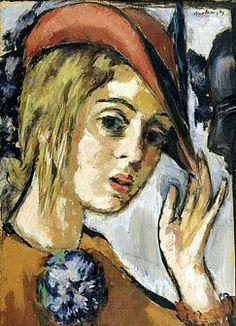 1920s Marie-Louise von Motesiczky (Austrian painter, 1906-1996) Self-Portrait with Red Hat. 1938?