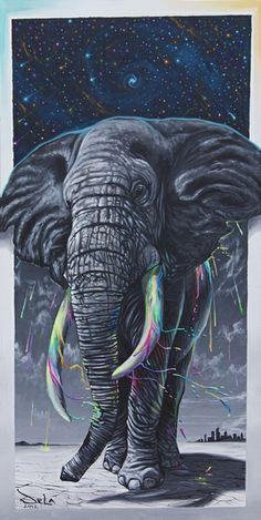 "Gorgeous elephant and galaxy art. ""The inspiration Rain"" DELA"