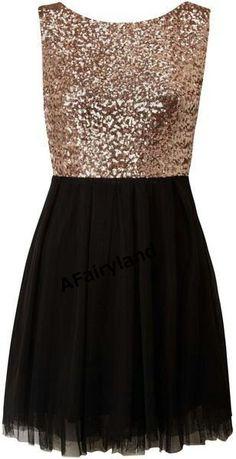 Bridesmaid dress, party dress, gold sequins, black skirt, sleeveless, round neck on Etsy, $68.00