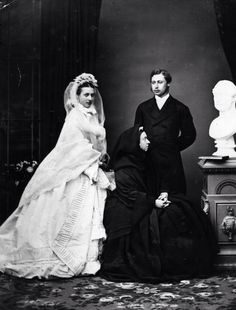The Prince and Princess of Wales. Born Alexandra Caroline Marie Charlotte Louise Julia, daughter of Christian IX of Denmark. Alexandra married Albert Edward, Prince of Wales, in 1863 at the age of just eighten. She remained as Princess of Wales from 1863 until her husband succeeded to the throne as Edward VII. She is the longest serving Princess of Wales in history. She then served as Queen Consort from 1901 until Edward's death in 1910.