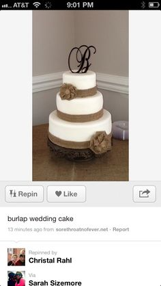 Burlap cake with brown topper. Topper from etsy shop.