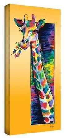 Artwal Giraffe Eating Gallery-Wrapped Canvas Artwork by Linzi Lynn, 24 x 48 Inch, Purple