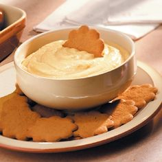Pumpkin Pie Dip Recipe -I came up with this rich, creamy pumpkin dip when I had a small amount of canned pumpkin left in the fridge after my holiday baking. It is also great served with sliced pears and apples, or as a spread on zucchini bread or any nut bread. —Laurie LaClair, North Richland Hills, Texas