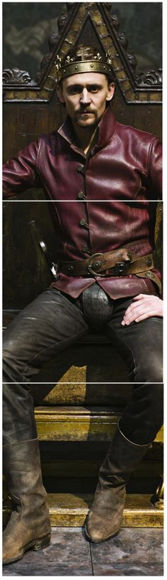 """Tom Hiddleston as Prince Hal / King Henry V in """"The Hollow Crown"""" all leather bound and lovely!"""