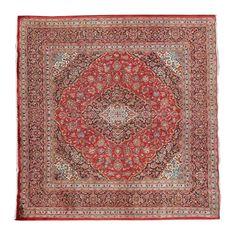 """9'6"""" x 9'6"""".Traditional area rug for sale, Oriental floor carpet, Medallion floral design, Vintage wool rug, Red Rug, Multi Color, Code : S0101382"""