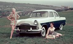 Few cars are sexier than the Ford Zephyr, as demonstrated in this shameless pic with Zdenka and Zita overlooking an outer suburb of Milton Keynes. Classic Cars British, British Sports Cars, Ford Classic Cars, British Car, Ford Motor Company, Ford Zephyr, Old Fords, Classic Motors, Car Ford