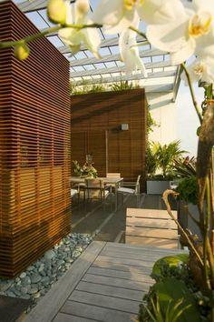Orchideen Dachterrasse Bepflanzen Kleiner Kaffeetisch Dachterrasse  Bepflanzen, Dachterrasse Gestalten, Wasserspiele, Oase, Sichtschutz