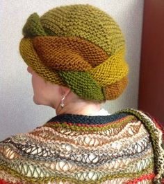 Free knitting pattern for Braided Brim Hat turban style hat is knit in garter stitch and can take one skein